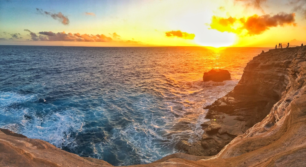 Spitting Cave at sunset