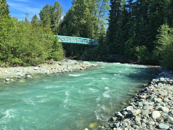 The beautiful glacier river in Whistler