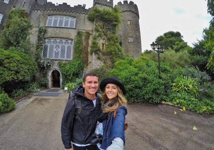 Playing King and Queen at a castle in Ireland ( JK, we were working here. )
